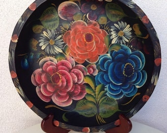 """Vintage wood hand painted Mexican tray floral black 11"""""""