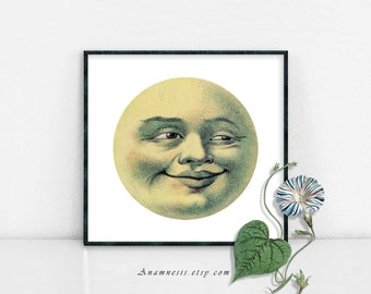 MOON FACE - digital image download - printable vintage moon illustration retooled for prints, totes, nursery art, onsies, pillows,