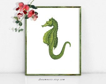 SEAHORSE 2 IN LIME - digital download - printable 1800's ocean illustration retooled for image transfer - totes, pillows, prints, fabric