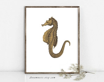 Seahorse Print - SEAHORSE 02 IN SEPIA - Instant Download Image - printable ocean illustration for framing, totes, scrapbooking, nursery art