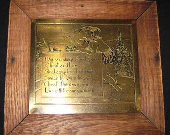 Antique Brass Engraved Plaque
