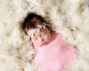 Leaf Headband, Baby Headband- Greek Goddess Ivory Leaf Headband with Pink Pearl Center Piece- Photography Prop