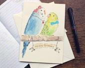 Hand Drawn Greeting Card - Birthday Card - Budgie Drawing - Parakeet