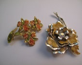 2 Flower Brooches, Gold tone, Coral, Enamel, Gold, Rhinestone, Summer, Lot of 2, Floral
