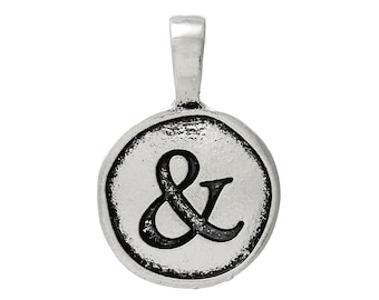 2pc Antique Silver Ampersand Pendants - 23x15mm - Charm, Jewelry Finding, Jewelry Making Supplies, Necklace Bracelet Ships from the USA -O65