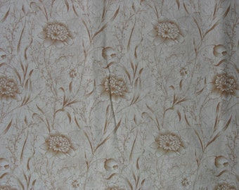 Cotton Quilting Fabric Cotton Floral Fabric Cotton Fabric Cotton Material Cream Brown Buff Fabric - 1 Yard - CFL1104
