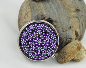 Purple Flowers Pill Box in Polymer Clay and silver toned metal with 3 divided compartments for mints or pills inside