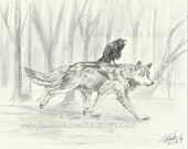 Wolf guided by Raven Totem nature wild wildlife art pencil drawing sketch ACEO and Large print natural setting forest woodlands woods