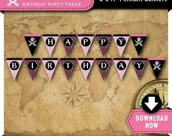 Pink Pirate Party Banner   Printable Birthday Party Decorations   Girl   Instant Download