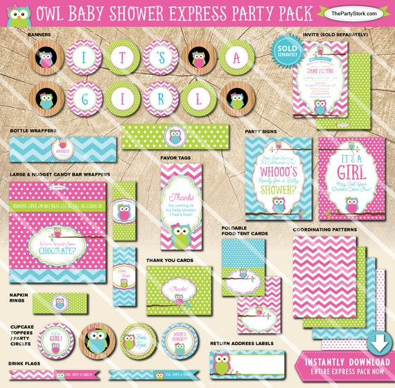 Owl baby shower decorations printable party package pink green