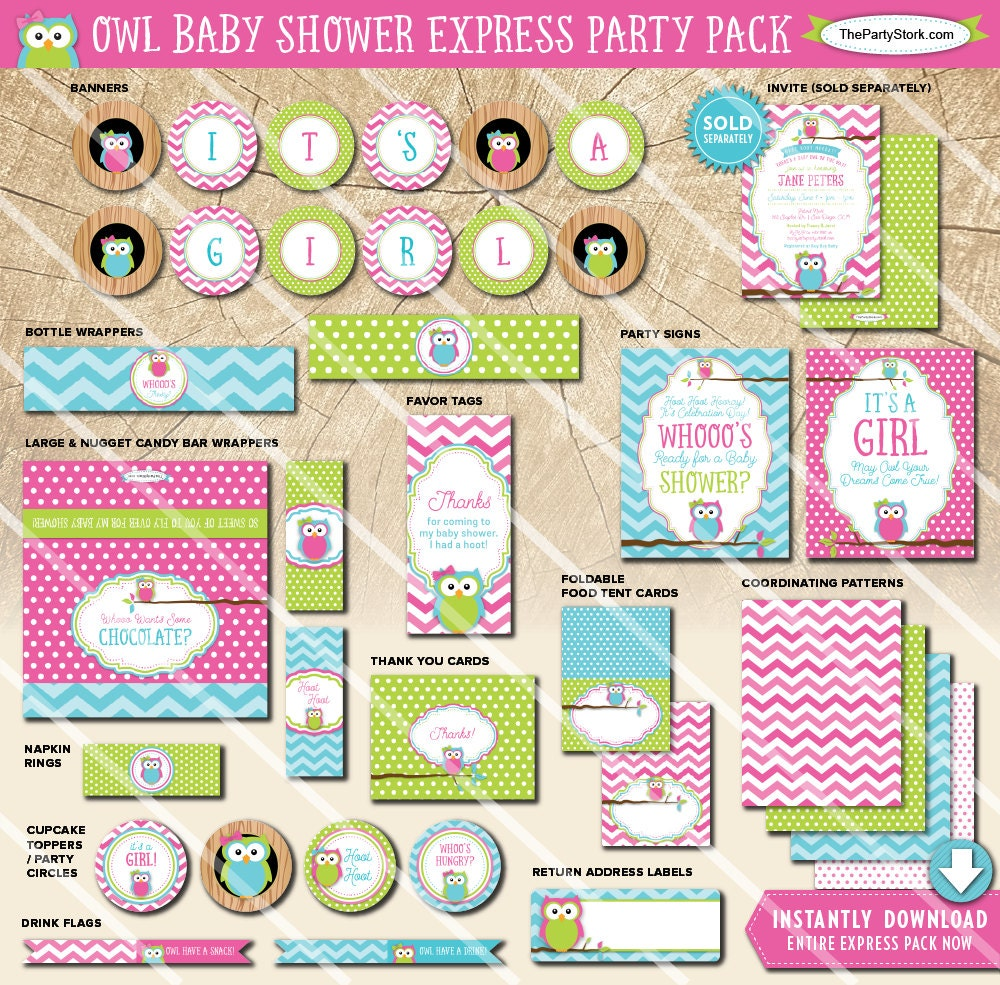 Owl Baby Shower Supplies: Owl Baby Shower Decorations Printable Party Package Pink