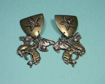 Cowboy Theme Earrings, Rodeo, Western, Horse, Ranch Life, Clip Ons