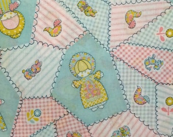 Cheater Quilt Fabric / Vintage Dutch Dolls / Cheater Cloth / Cotton Blend / Nursery Fabric/  1  and 1/2 Yard
