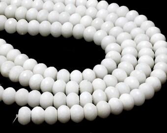 """GU-0524-6 - White Jade Faceted Rondelles - 12x16mm - Gemstone Beads - Full 16"""" Strand"""