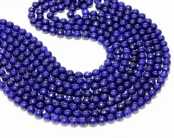 "GU-2779 - Blue Jade Faceted Round Beads - 4mm,6mm,8mm,10mm,12mm,14mm,16mm,18mm,20mm - Gemstone Beads - 16"" Full Strand"