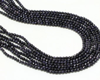 "GU-3405-1 - A Grade Blue Goldstone Faceted Round Beads - 4mm - Gemstone Beads - 16"" Full Strand"