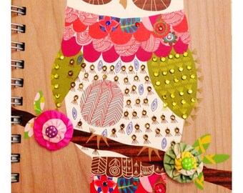Recycled paper owl journal with handmade  yoyo flowers and crystals