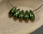 Pearl teardrop beads 20pc 12mm | Green pearl teardrops | Czech glass pearl drop beads | Green pearl beads | Tear drop beads