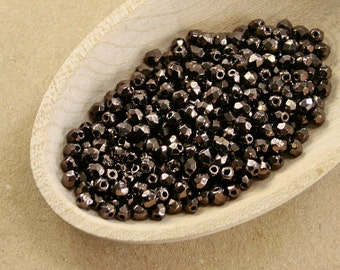 Bronze beads 70 pc   3mm beads   Dark bronze Fire polished beads   Czech glass beads   Round faceted beads   Small spacer beads