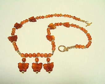Orange Butterfly Necklace & Earrings One of a Kind Bar Necklace Carnelian Agate Quartz Unique Necklaces Handmade Jewelry Gift for Her Cool