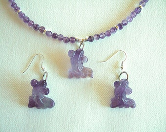ON SALE Purple Amethyst Necklace & Earrings Gorgeous Ethereal Translucent Stone Necklace Fish Pendant Agate Jewelry Gifts for Her
