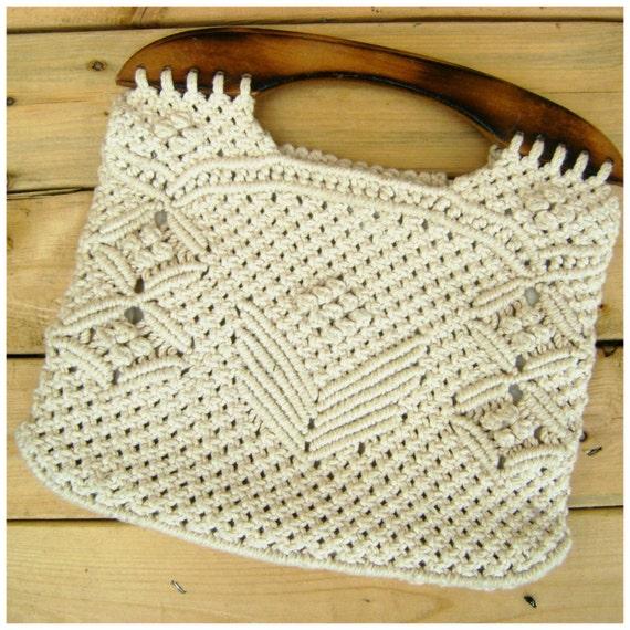 Crochet Bag Wooden Handle Pattern : Crochet Wood Top Handle Purse Vintage 80s Hippie Boho Summer