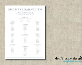 Customized Printable Seating Chart - Traditional Gray and Slate Blue Wedding Seating Chart Poster