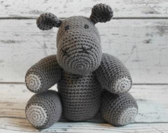 Crochet Hippo Stuffed Animal, Grey Hippo Amigurumi, Plush Animal, MADE TO ORDER