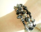 Black Beauty Wrap Around Bracelet match to Black Beauty Necklace- One size fits all.
