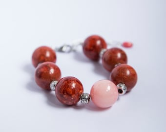 Large bold stone bracelet, huge 20mm round coral and soft pink jade, adjustable extender chain, beautiful pastel colored large stones