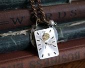 Alice in Wonderland Jewelry, Steampunk Necklace Watch Face with Gears, Steampunk jewelry, Gothic Jewelry, Victorian Jewelry, handmade, OOAK