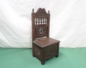 Quimper Breton Dollhouse Chair Vintage French Carved Chestnut Wood Miniature Chair (v343)