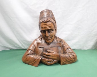 Quimper Breton bust Hand Carved Walnut of an old French Breton woman with the traditional headdress v325//free shipping