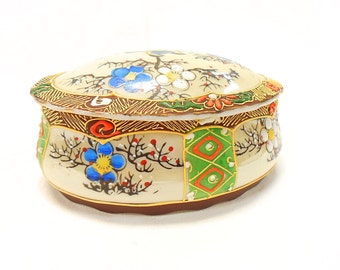 Vintage Satsuma Japanese Hand Painted Bird Decor Oval Porcelain Trinket Box (B139)
