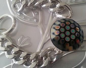 Large Metallic peacock eye  Swarovski  bracelet