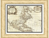 MAP of AMERICA and Countries in a Vintage Grunge Weathered Antique style