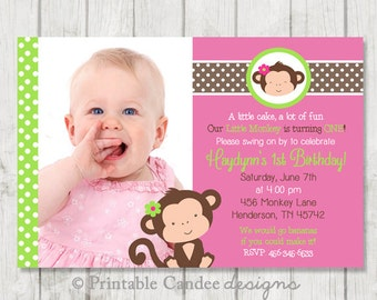 Girl Monkey Birthday Invitation - Lime Green and Pink - Monkey Birthday - Girl Monkey Party - Monkey Invitation - DIY Custom Printable