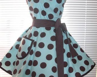 Retro Apron Brown Dots on Pretty Aqua Blue with an Extra Full Circular Flirty Skirt