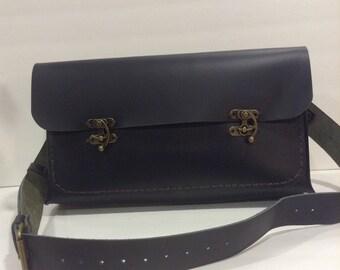 Ladies Handbag,Deep Blue Shoulder Bag Elegant Leather Made By NadiraBag