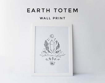 Earth Totem Print, Wall Print, Tribal Wall Prints, Wall Print Download, Printable, Totem Downloads