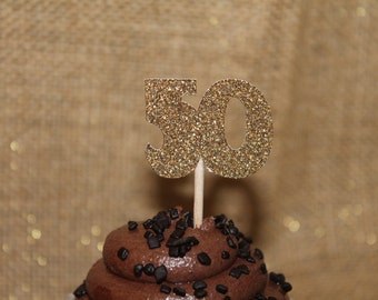 10 Glitter Milestone Cupcake - Party Picks - 30 - 40 - 50 - Gold Glitter Picks - Birthday - Anniversary - Retirement - Special Occasion
