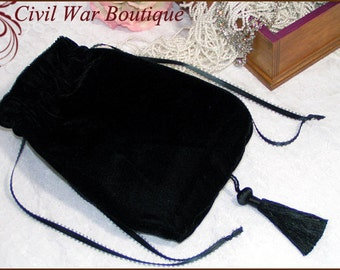 Civil War / Victorian Black Velvet RETICULE / PURSE NEW