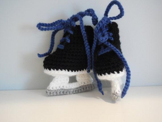 Free Crochet Pattern Baby Hat With Bow : Baby Ice Hockey Skates Crochet hockey skates