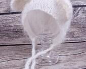 Hand Knit Baby Hat, Knit Bear Hat, Baby Bear Hat, Baby Girl Hat, Baby Boy Hat, Newborn Bear Hat, Infant Bear Hat, White Animal Hat