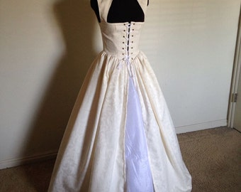 Off White Renaissance Wedding Irish Celtic Over Gown Dress Made to Fit you!!! One ready now! other colors too!!