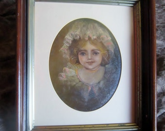 Original Oil Painting Helen by Mary L Bradley 1971 Vintage oil Painting Retro Frame Signed Dated by Artist