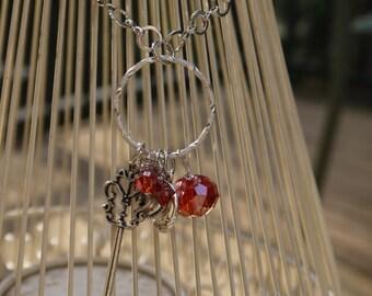Burnt Red Swarovski Crystal Key Charm Necklace