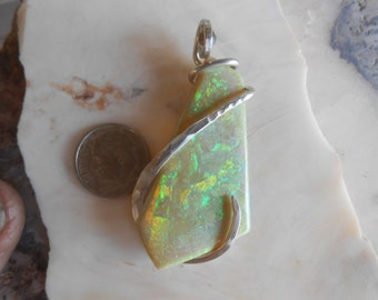 HOT NEW Opal Silver Wrapped Pendant