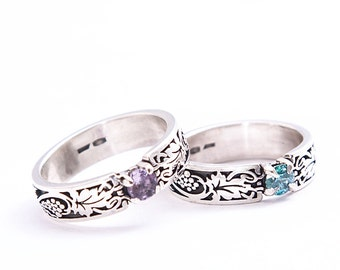 Grape ring | Sterling silver ring | Ornate ring | Floral Ring | Engagement ring