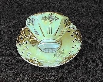 Nippon's - Nihon Yoko Boeki Yellow Cream Gold Tea Cup and Saucer - Reticulated